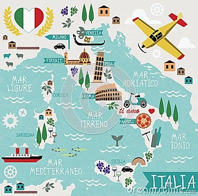 Free Cartoon Map Of Italy Stock Photo - 50727760