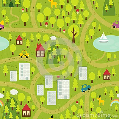 Free Cartoon Map Of Small Town And Countryside. Stock Photo - 32874050