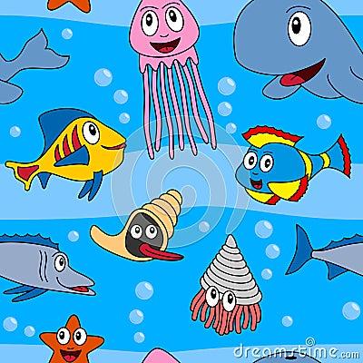 Cartoon Marine Animals Seamless [1]