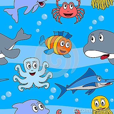 Cartoon Marine Animals Seamless [2]