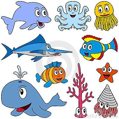 Free Cartoon Marine Animals Set [1] Stock Photo - 9151070