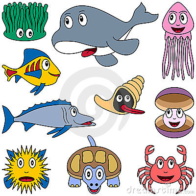 Free Cartoon Marine Animals Set [2] Stock Photo - 9151090