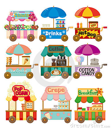 Free Cartoon Market Store Car Icon Collection Royalty Free Stock Image - 21411046