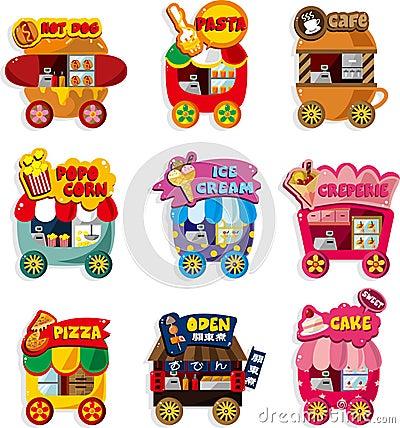Cartoon market store car icon collection