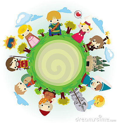 Cartoon Medieval people around world