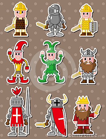 Cartoon medieval people stickers