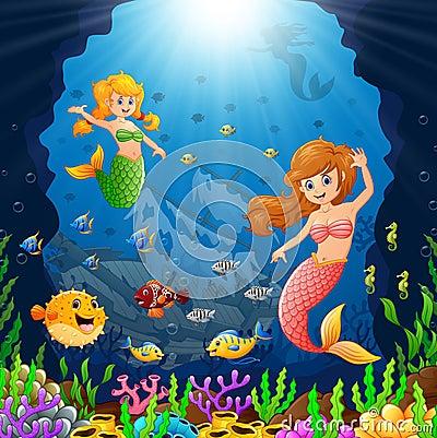 Free Cartoon Mermaid Under The Sea Royalty Free Stock Photo - 69708775