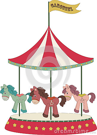 Cartoon merry go round stock image image 26688221 for Merry go round horse template