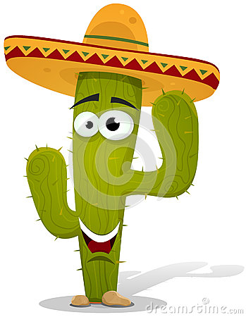 Free Cartoon Mexican Cactus Character Royalty Free Stock Image - 27332506