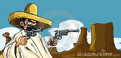 Cartoon Mexican in the desert with guns