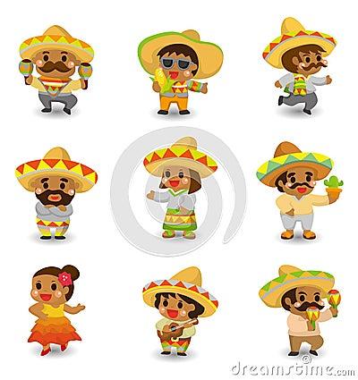Free Cartoon Mexican People Icon Set Stock Photos - 20106663