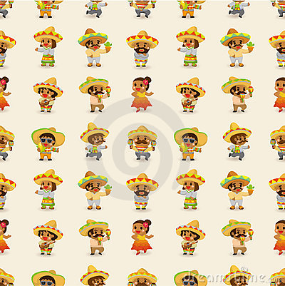 Cartoon Mexican people-seamless pattern
