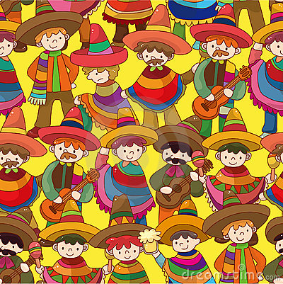 Cartoon Mexican people seamless pattern