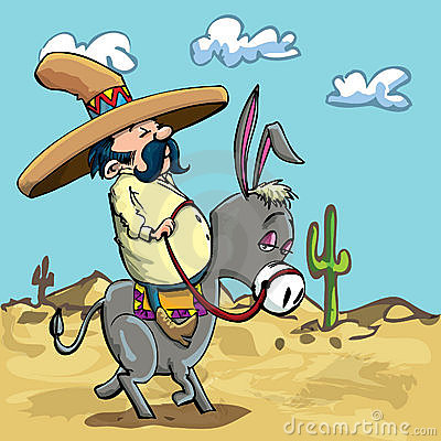 Free Cartoon Mexican Riding A Donkey In The Desert Stock Photography - 21167902