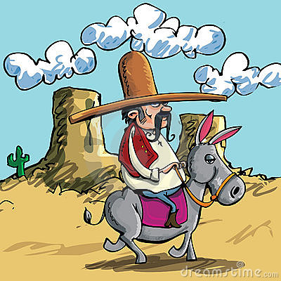 Cartoon Mexican wearing a sombrero riding a donkey