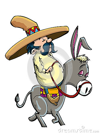 Cartoon Mexican wearing a sombrero riding a donkey