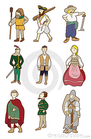Cartoon Middle Ages people