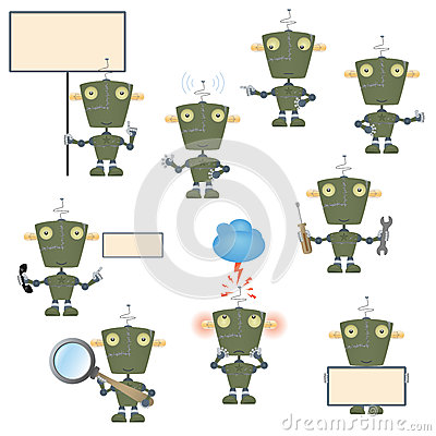 Cartoon military robot set