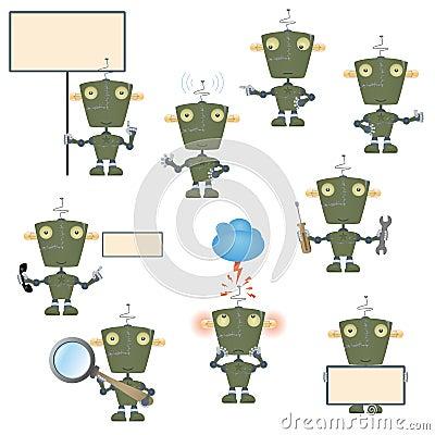 Cartoon military robot set