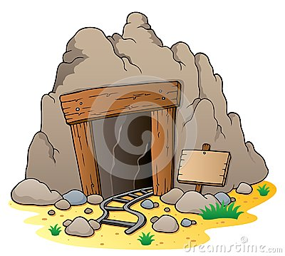 Free Cartoon Mine Entrance Royalty Free Stock Photography - 24861077
