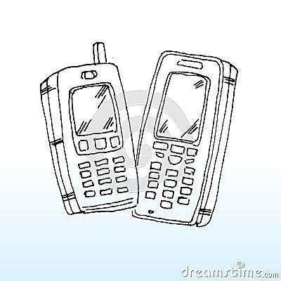 Cartoon mobile telephones