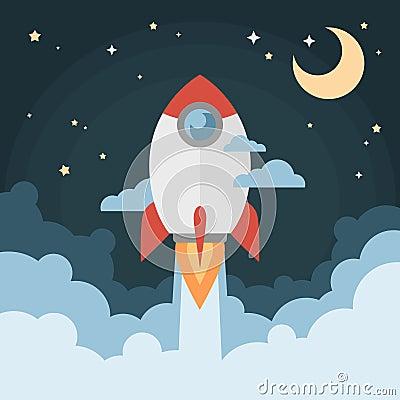 Cartoon Modern Flat Rocket Launch Flying In Space Stock