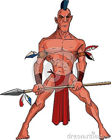 Cartoon Mohawk warrior with a spear