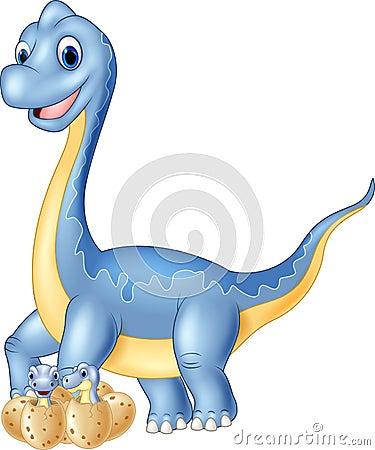 Cartoon mom and baby dinosaur hatching Vector Illustration