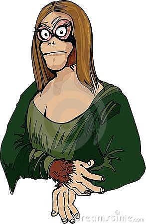 Cartoon Mona Lisa as an ape