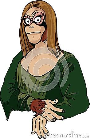 Cartoon Mona Lisa as an ape