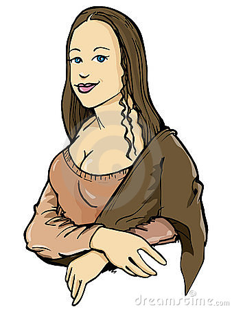 Cartoon of the Mona Lisa with her smile