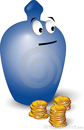 Cartoon moneybox with coins