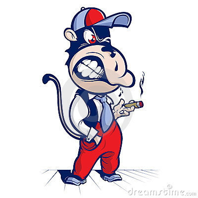 Cartoon monkey smoke