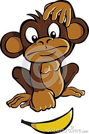 Free Cartoon Monkey With Banana Royalty Free Stock Photos - 15966978