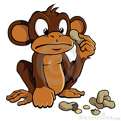 Free Cartoon Monkey With Peanuts Royalty Free Stock Image - 19786456