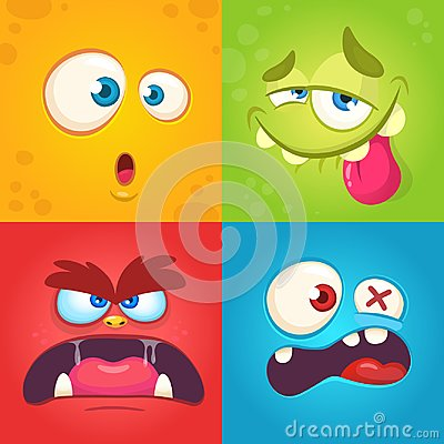 Free Cartoon Monster Faces Set. Vector Set Of Four Halloween Monster Faces With Different Expressions. Children Book Illustrations Stock Images - 101357154