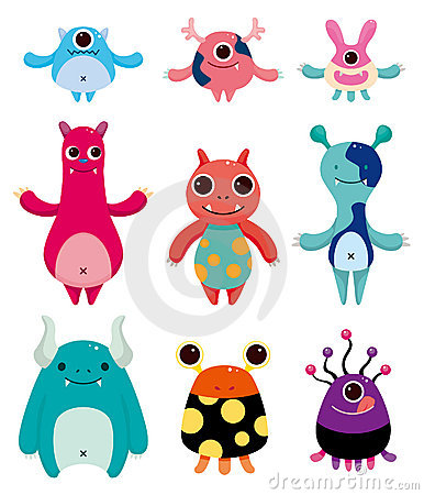 Free Cartoon Monster Icons Royalty Free Stock Photos - 20961048