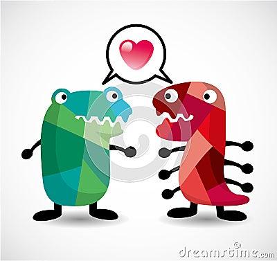 Cartoon monster love card