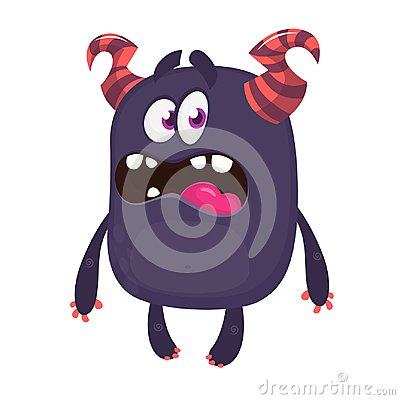 Cartoon monster with scary expression face. Vector character. Vector Illustration