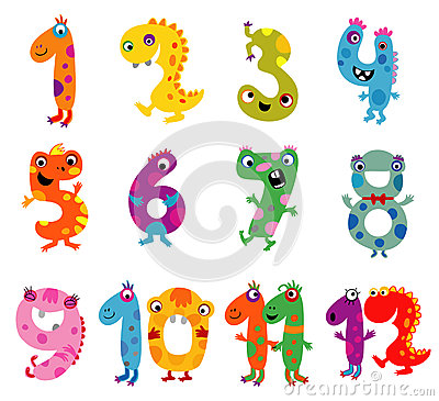 Free Cartoon Monsters Numbers Stock Photo - 52502570
