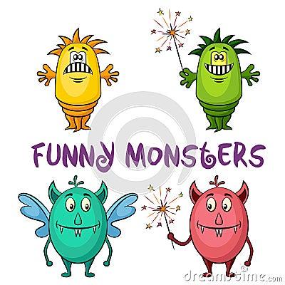 Free Cartoon Monsters Set Royalty Free Stock Image - 73727926
