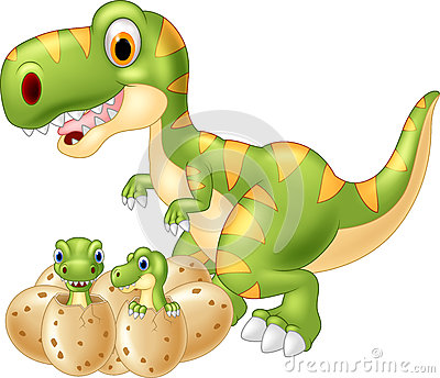 Cartoon Mother and baby dinosaur hatching Vector Illustration
