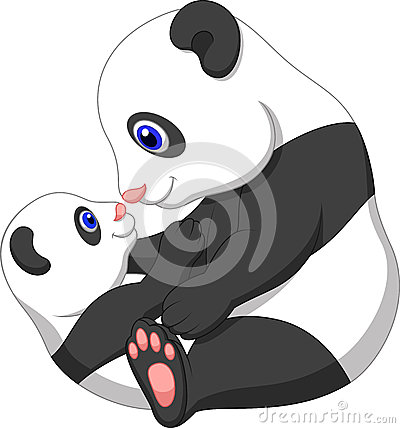 Cartoon Mother And Baby Panda Stock Photos Image 33236593