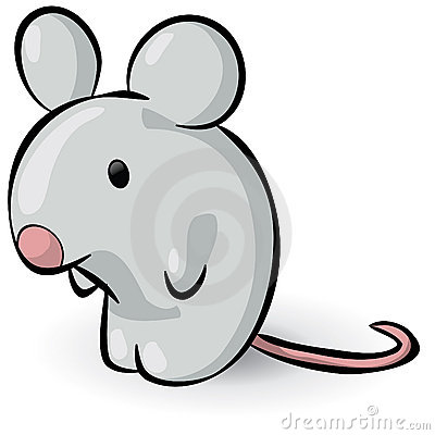 Illustration of grey cartoon mouse, isolated on white background.
