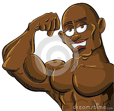 Cartoon muscle man flexing his bicep