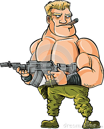Cartoon muscle soldier with big machine gun