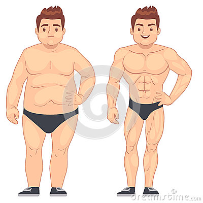 Free Cartoon Muscular And Fat Man, Guy Before And After Sports. Weight Loss And Diet Vector Lifestyle Concept Royalty Free Stock Photo - 87338405