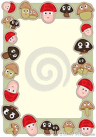 Cartoon Mushroom Frame_eps