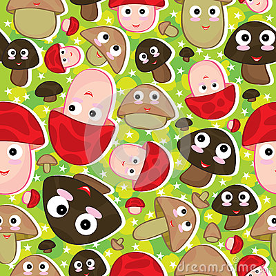 Cartoon Mushroom Seamless Pattern_eps