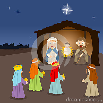 Cartoon Nativity Scene